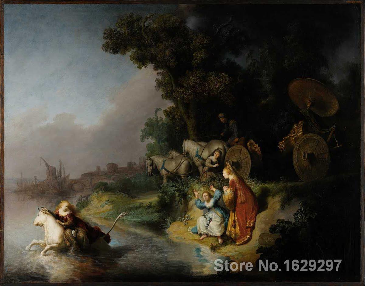 Большая картина маслом на холсте для настенного декора The Abduction of Europa от Rembrandt van Rijn Картины Ручная роспись высокого качества