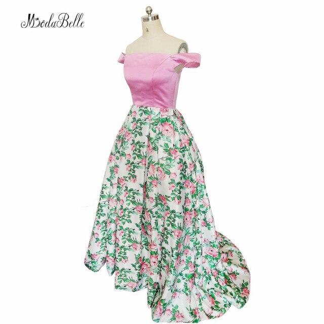 e3d55614d4 modabelle Floral Pink Green Prom Dresses Satin Sexy Off The Shoulder Long  Flowers Print Formal Evening Gowns Vestido De Festa