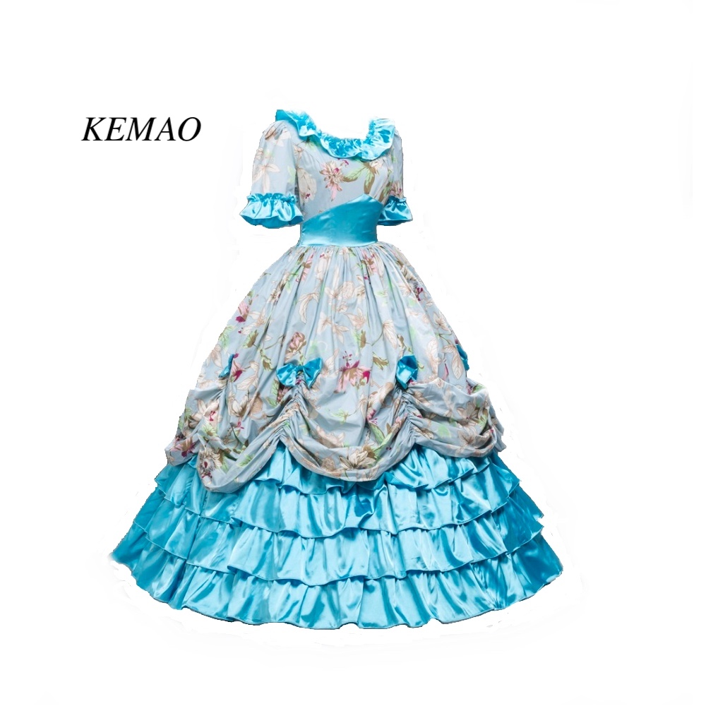 Victorian Southern Belle Civil War Ball Gown Floral Dress Theatre Reenactment Costumes top sell