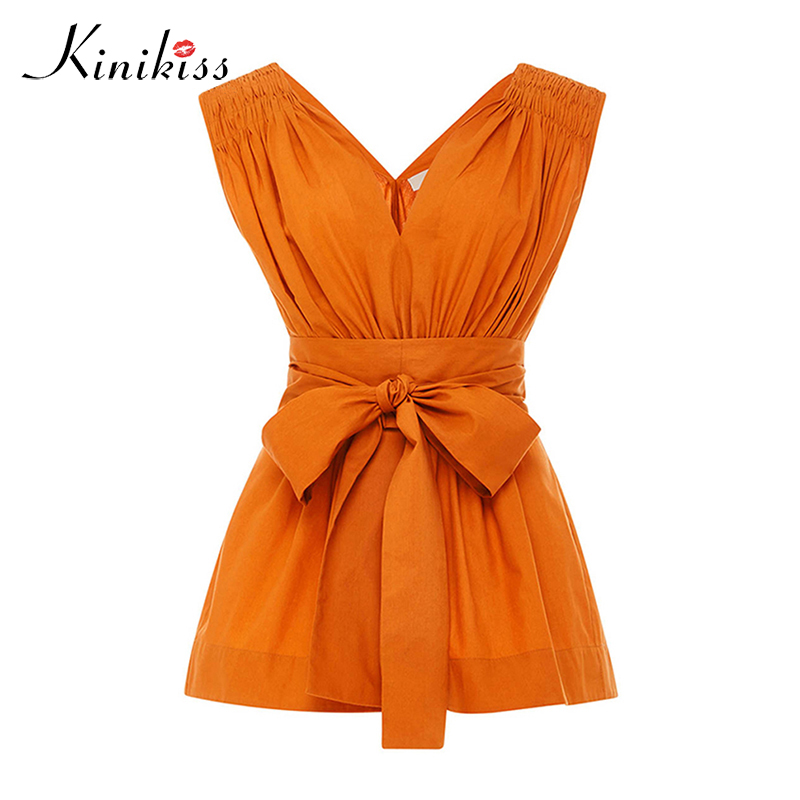 Kinikiss summer 2018 female blouse apparel orange solid bowknot v neck pleated backless spring women tops sexy fashion blouse