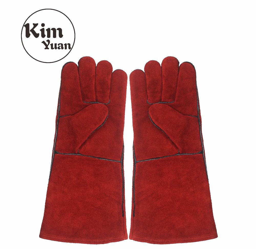 KIM YUAN 014L Leather Welding Gloves - Heat/Fire Resistant, Perfect for Welder/Oven/Fireplace/Animal Handling/BBQ -Red- 16inches