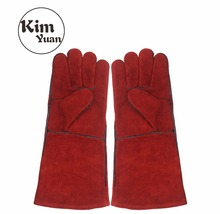 KIM YUAN YSG012 Leather Welding Gloves-Heat/Fire Resistant, Perfect for Welder/Oven/Fireplace/Animal Handling/BBQ -Red- 16inches