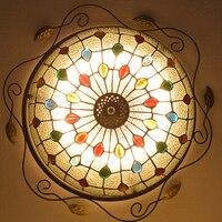 Европейский барокко пастырской Потолочный Светильник Тиффани круглый стекло абажур lamparas де techo abajur