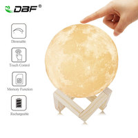 Rechargeable 3D Print Moon Lamp Dimmable 2 Colors Change Touch Switch Night Lamp Home Decor 8cm