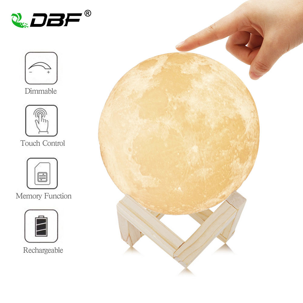 Rechargeable 3D Print Moon Lamp Dimmable 2 Colors Change Touch Switch Night Lamp Home Decor 8cm 10cm 15cm 18cm 20cm+Wood Stand magnetic floating levitation 3d print moon lamp led night light 2 color auto change moon light home decor creative birthday gift