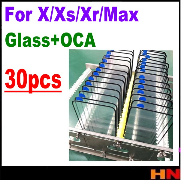 30pcs wholesale For iPhone X XS XR Max glass OCA together LCD Middle repair touch glass
