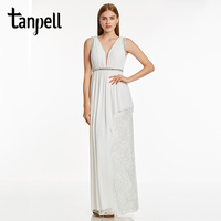 Tanpell Backless Evening Dress Ivory V Neck A Line Crystal Floor Length Dress Women Prom Beaded