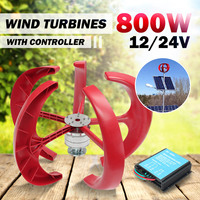 800W 12V/24V Wind Power Generator Vertical Wind T urbine Lantern 5 Blades Motor with controller for home streelight Hy brid use