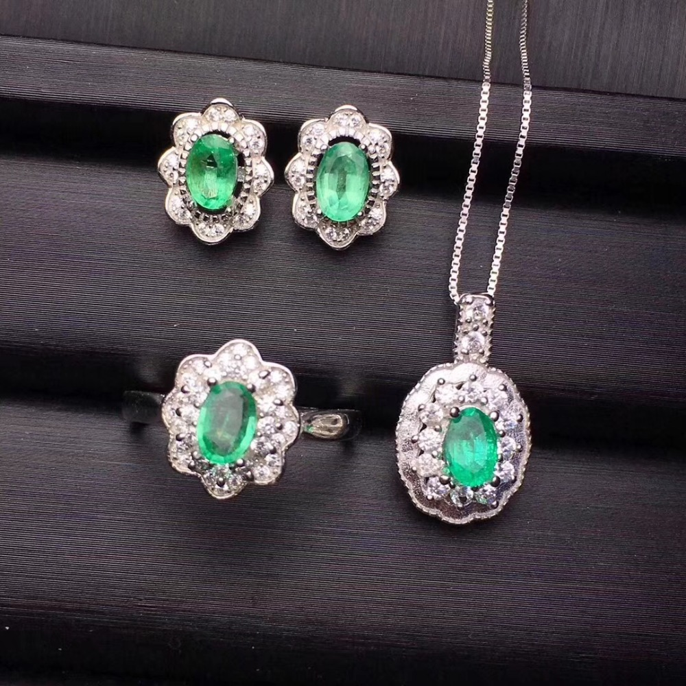 Emerald jewelry set  Natural and Real Emerald 925 sterling silver 1pc pendant,1pc ring ,2pcs EarringEmerald jewelry set  Natural and Real Emerald 925 sterling silver 1pc pendant,1pc ring ,2pcs Earring