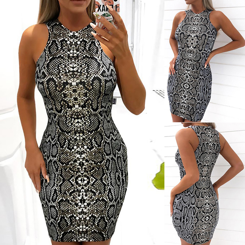 HTB1VkJ3bvvsK1RjSspdq6AZepXa0 Women's Dresses Ladies Sexy Serpentine Print Sleeveless Dress Summer Dress Fashion sexy bodycon dresses woman party night 2019