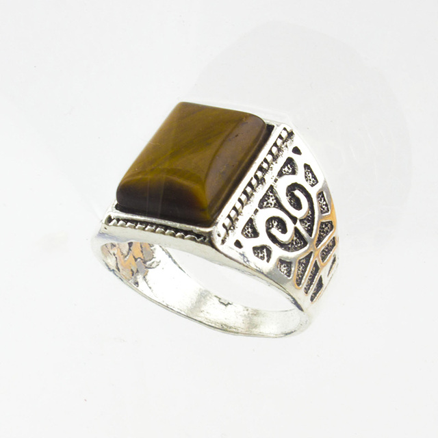 sterling timeless tiger gemstone eye silver yellow rings ring