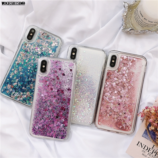 4bcb1d26fe2 Love Heart Glitter Phone Case For iphone X XR XS MAX Liquid Quicksand Cover For  iphone 5 5S SE 6S 6 7 8 Plus Bling Sequins