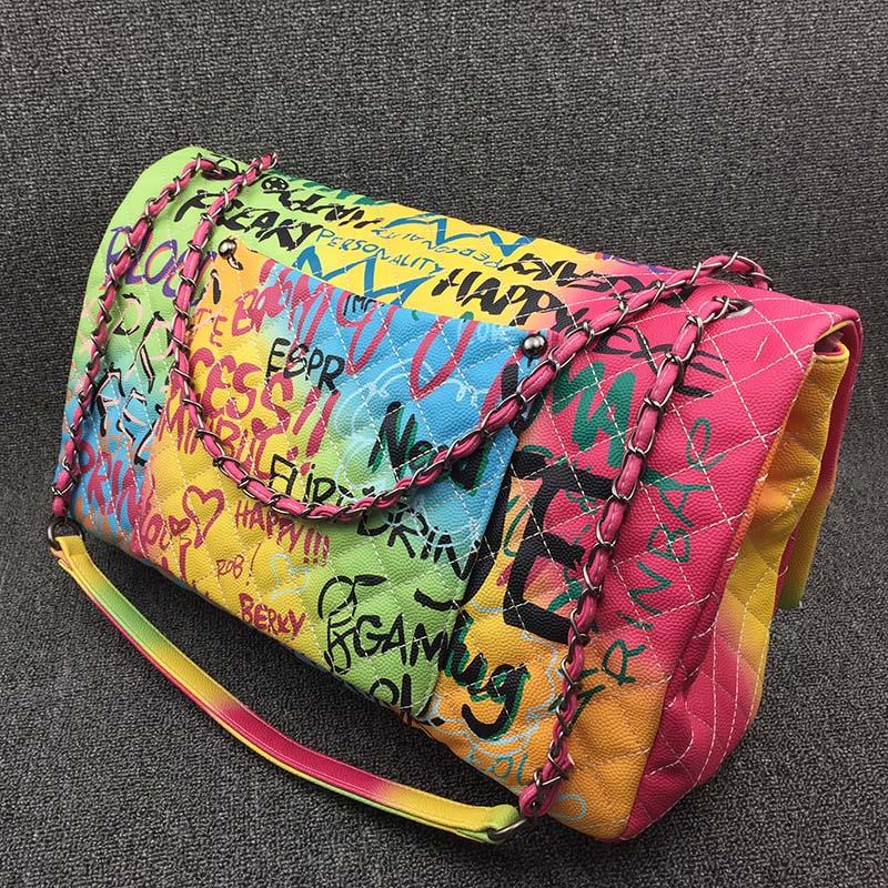 Coloré arc-en-ciel sac pour femmes 2019 grand luxe sacs à main femmes sacs Designer grand voyage sac à bandoulière femmes sacs à main dames main 4