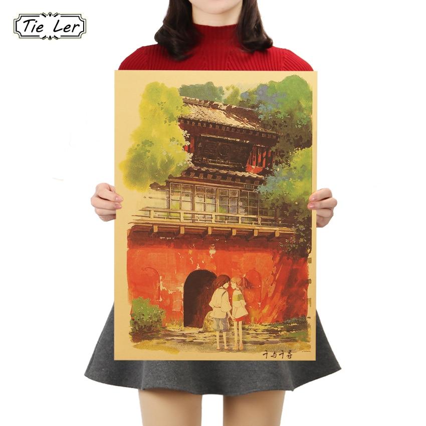 TIE LER классический ностальгия D стиль крафт-бумага классический мультфильм фильм постер домашний Декор стикер на стену 50,5x35cm