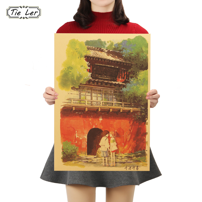 TIE LER Spirited Away D Style Kraft Paper Classic Cartoon Film Poster Home Decor Wall Sticker 50.5X35cm