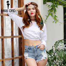 Missord 2018 Sexy  long-sleeve backless  white color  short  top FT8244