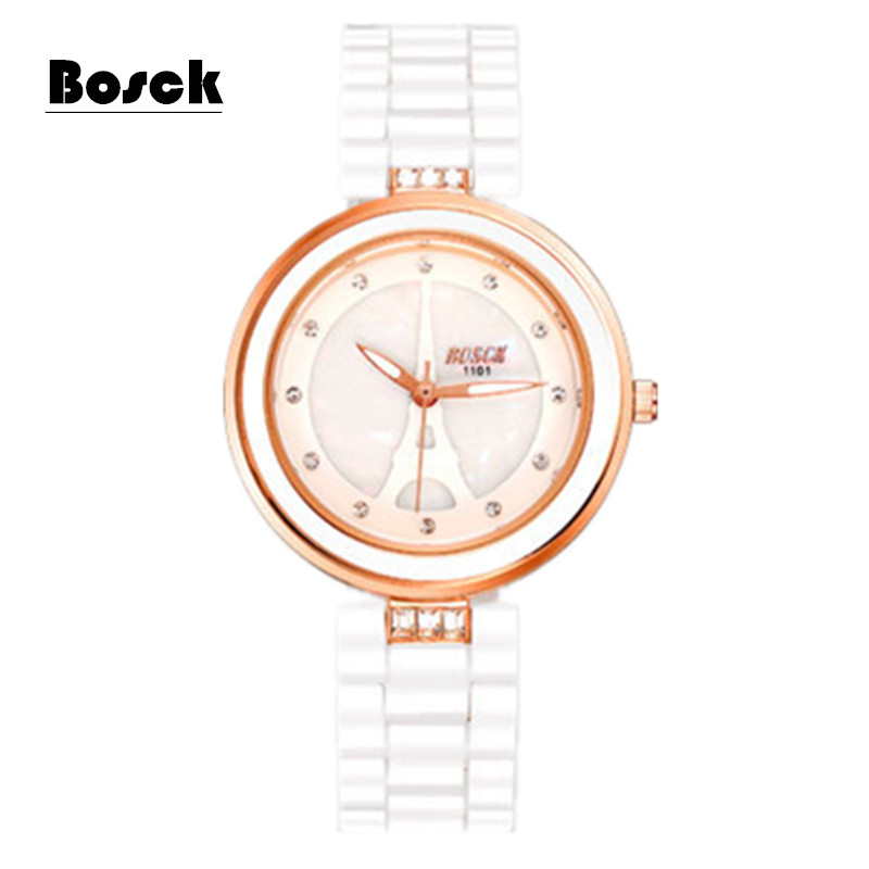 relogio feminino bosck ceramic shell waterproof quartz watch woman brand fashion watches montre. Black Bedroom Furniture Sets. Home Design Ideas