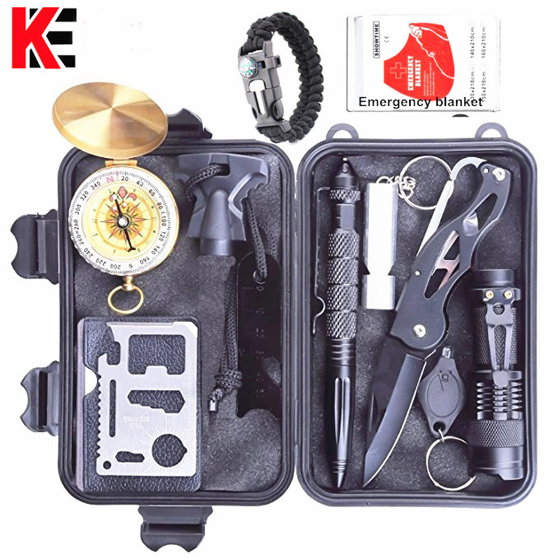 Survival Kit Outdoor Portable Emergency Tourism Equipment Camping Survival Tools Military Travel Kit Whistle,Rescue Tactical Pen outdoor multifunction camping tools axe aluminum folding tomahawk axe fire fighting rescue survival hatchet