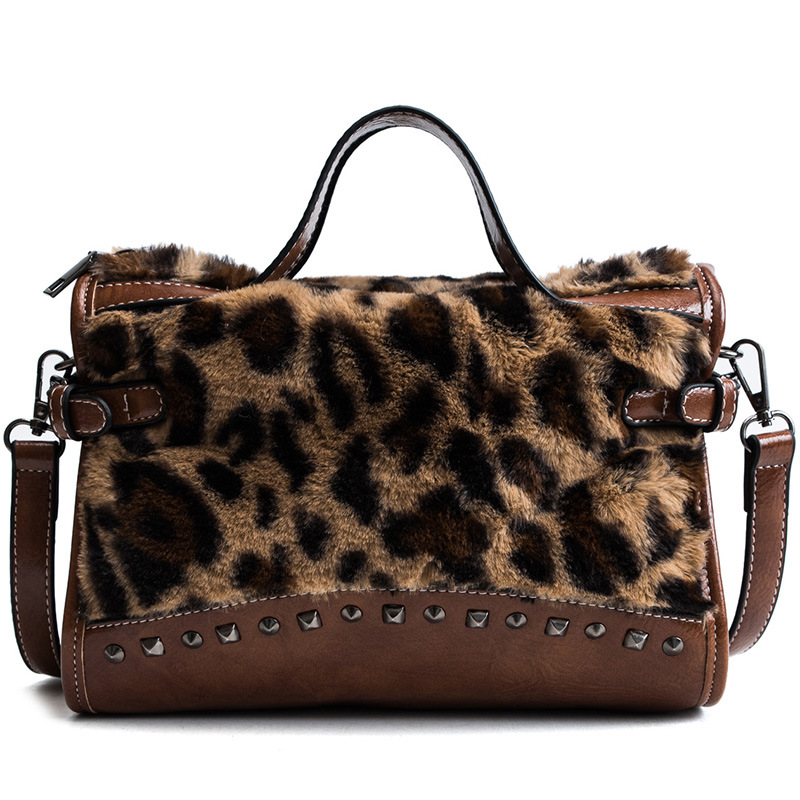 2018 Autumn Winter Fashion Fur Leopard Print Boston Women Handbag  Motorcycle Tassel Shoulder Cross Body Bag Lady Large Tote Bag-in Top-Handle  Bags from ... db12e0aa1bea5