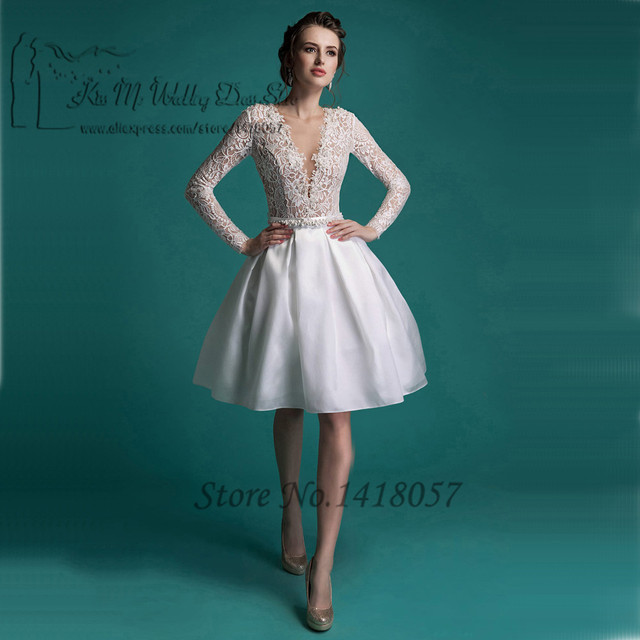Vintage Princess Short Wedding Dress Long Sleeve Lace Bridal Dresses ...