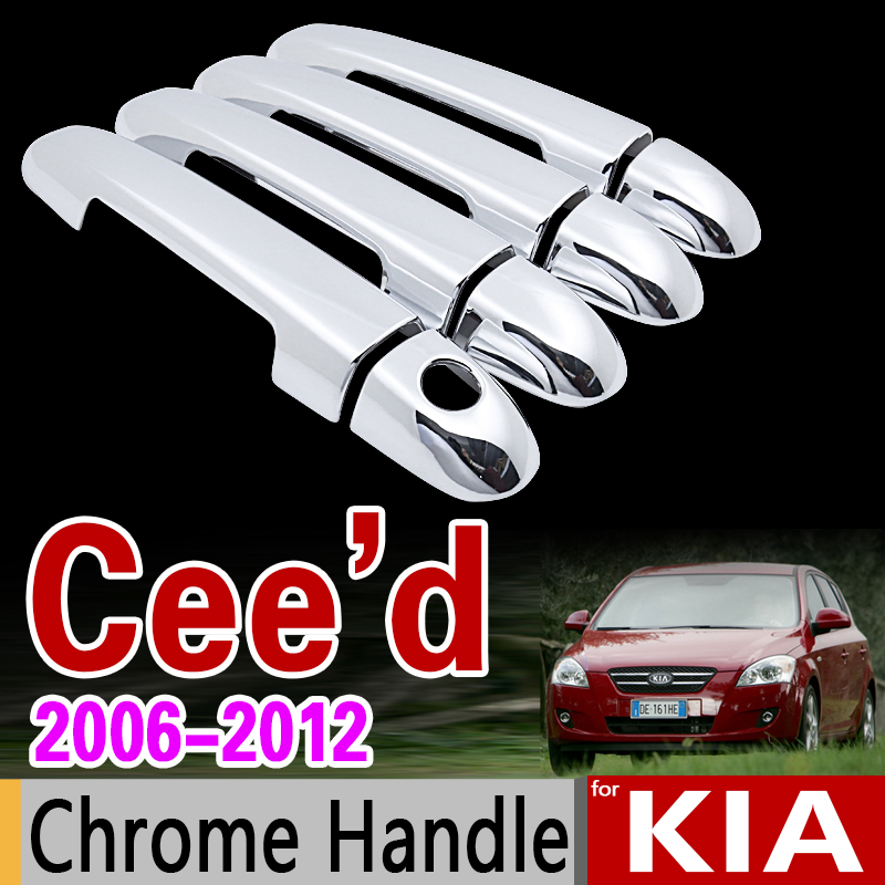 for KIA Ceed 2006 - 2012 ED Chrome Handle Cover Trim Set Cee d Cee'd 2007 2008 2009 2010 2011 Accessories Stickers Car Styling автомобильный коврик seintex 451 для kia ceed