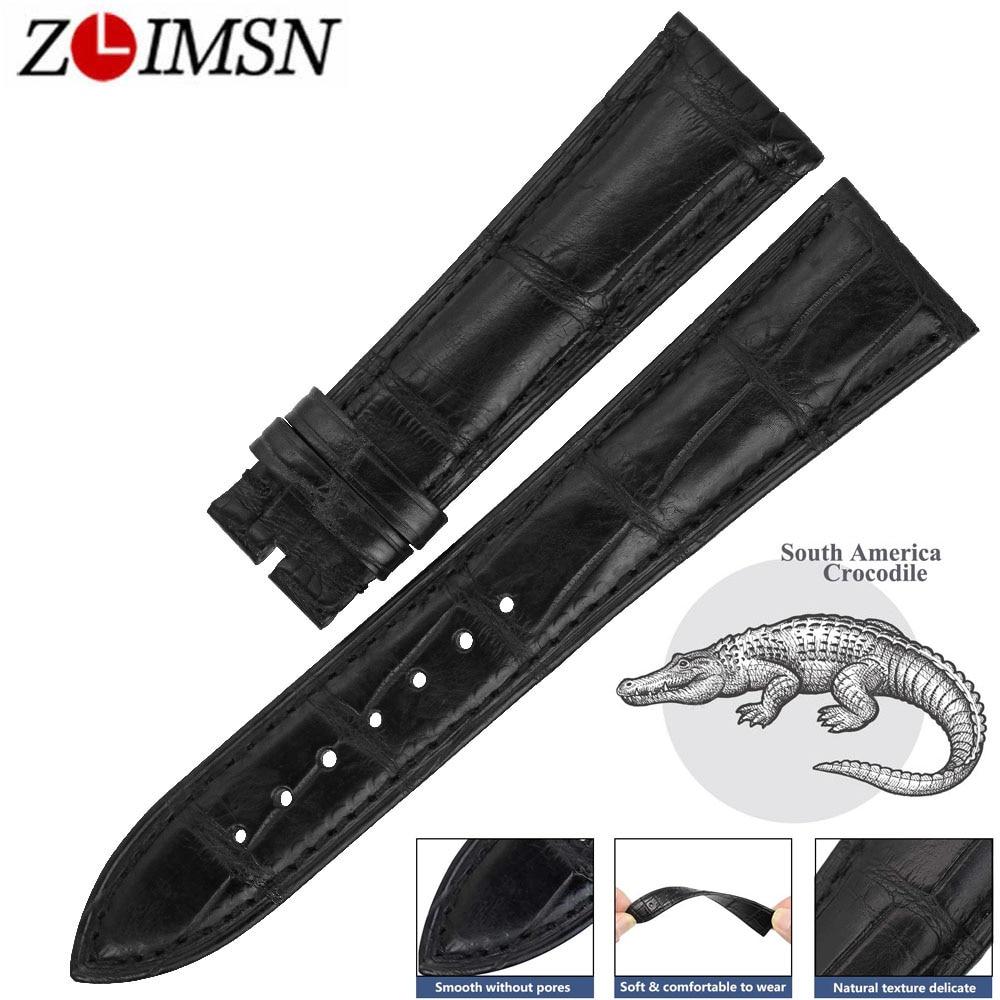 ZLIMSN Double Crocodile Leather Watch Band 14mm-24mm Black Men's Women Luxury Alligator Watchband Suitable for OMEGA Longines часы longines