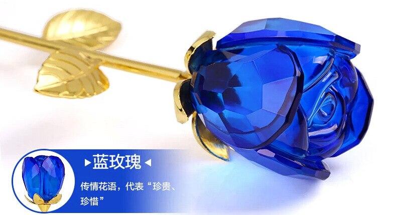 Livraison gratuite 1 PCS/lot, 280mm longueur romantique cristal bleu Rose avec feuille d'or pour la saint-valentin cadeaux faveur de fête de mariage