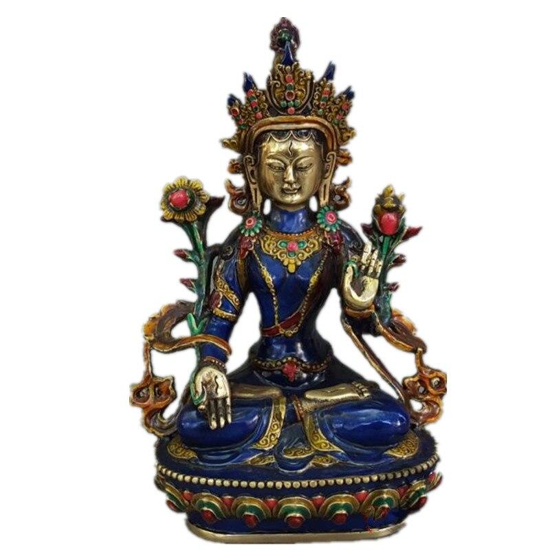 Décoration Bronze usine pur laiton Antique exquis chinois sculpté à la main bouddhiste bouddha vert Tara Statue R51