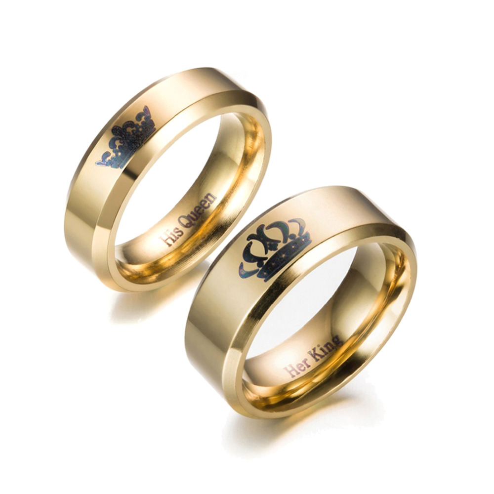 6mm Men's Gold Ring Couples Crown Ring Her King&His Queen Rings for Women Men Best Listing 2018 Products Fashion Jewelry