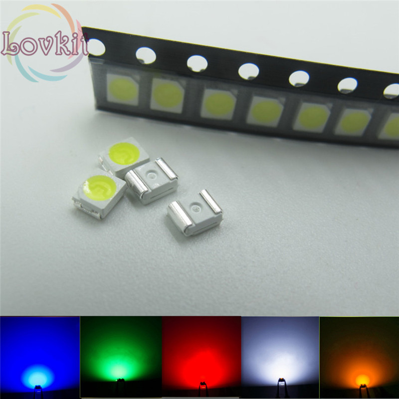 100pcs PLCC-2 SMD/SMT LED 20X Each Color White Red Blue Green Yellow Emitting Diode 3528 1210 High Quality SMD Chip Lamp Beads