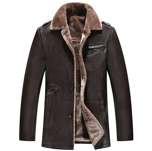 HOT ! New Warm Winter Men's Genuine Leather Jacket Men Leisure Fur coat Brand Luxury Real Long Leather Coat M-XXXL