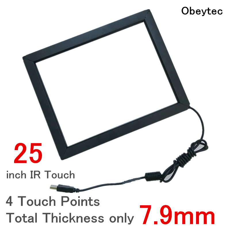 "Obeytec 25"" IR touch Panel Overlay, Wide Touch Frame, 4 touches, Display Monitor Touch Screen Overlay, Driver free"