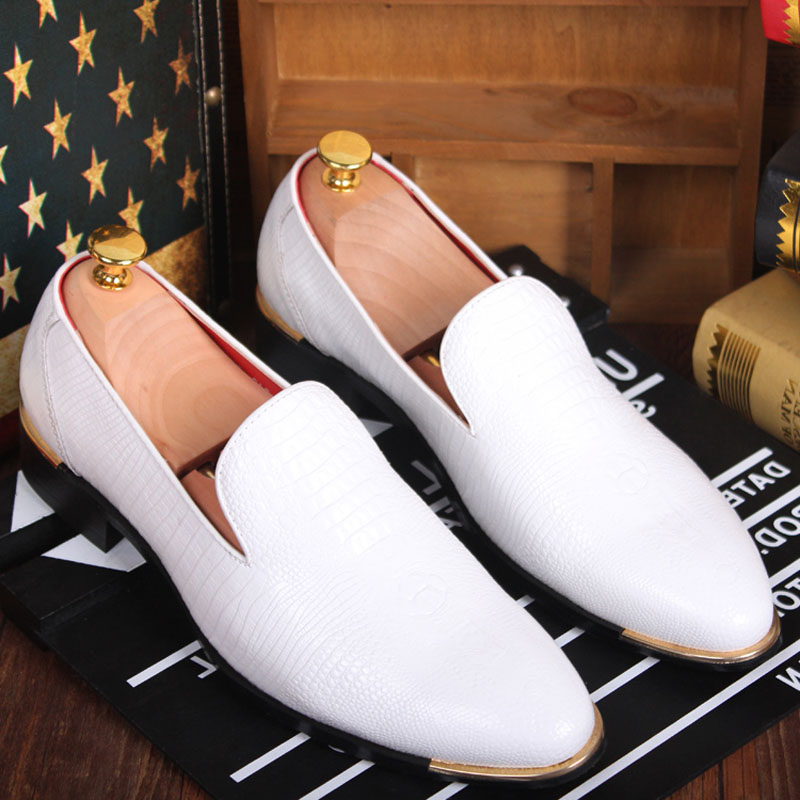Mens Oxfords Loafers Dress Formal Wedding Business Slip On PU Leather New Shoes Pointy Toe For Man Driving Shoes Black White Red pu slip on plain round toe mens oxfords