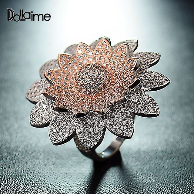 Dolaime Brand 2018 New Sunflower Flower Design Rose Gold Color Ring