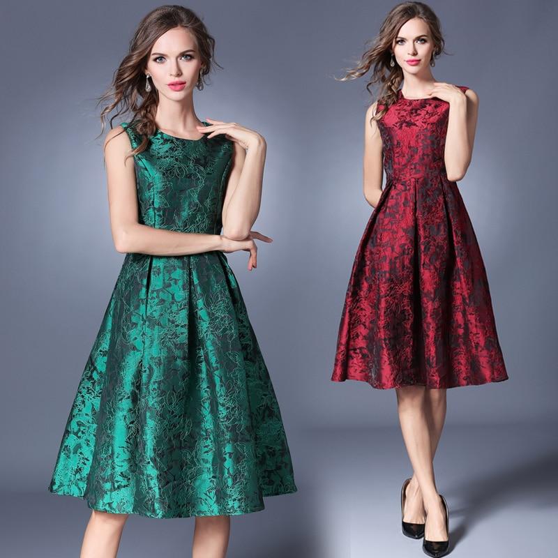 European Station 2018 New Summer Jacquard Dress Temperament Printing Sleeveless O neck Vest Dresses Plus Size