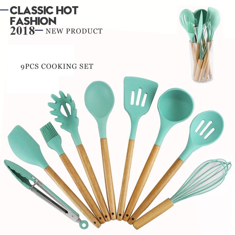 9pcs Silicone Cooking Utensils Kitchen Green Utensil Set