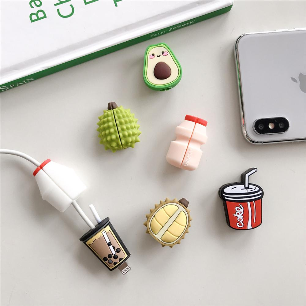 Cute Cartoon Avocado Durian Cola Cable Protector Data Line Cord Protective Case Cable Winder Cover For IPhone USB Charging Cable