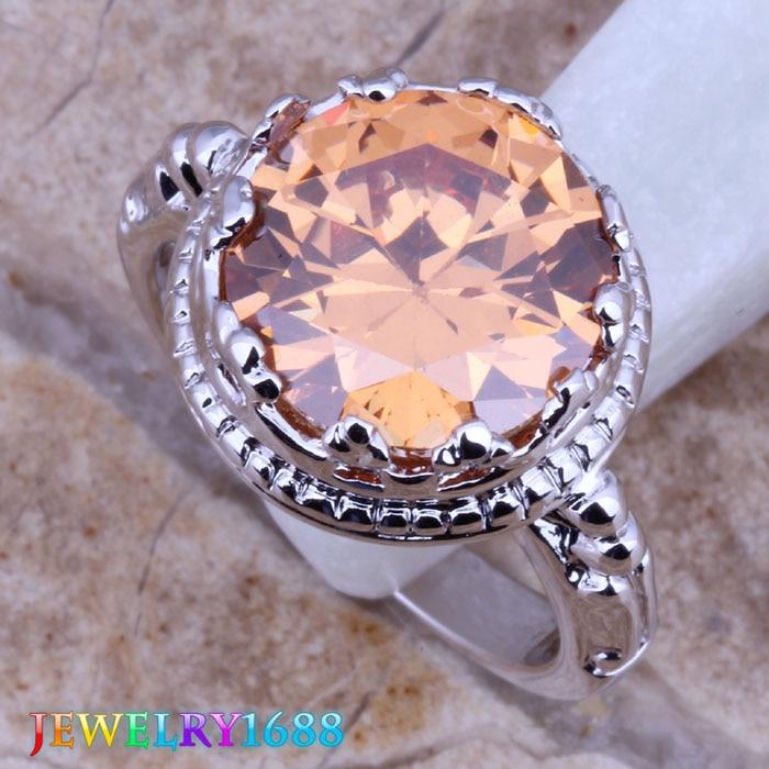 e2491f67deff Evidente rotación champán puro de plata anillo de las mujeres  tamaño 6 7 8 9 D207