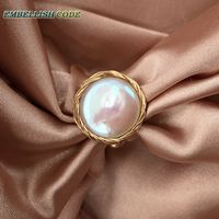 Admirable NEW Designer golden wire with baroque cultured pearls hand make ring white color for women girl gift unusual