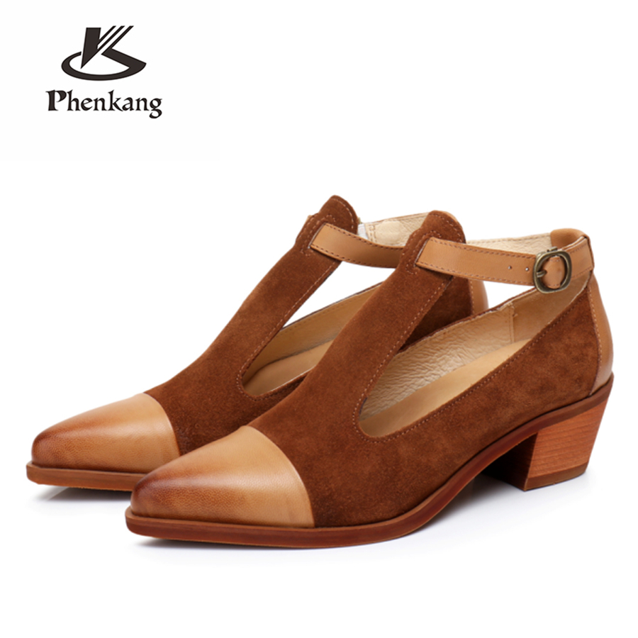 Leder Pumps 100echtes Yinzo Handmade Sandalen Lady Designer Oxford Schuhe Schaffell f Vintage FJlKuT13c