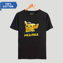 100% Cotton 2019 Anime movie Pokemon Detective Pikachu print Women/Men Clothes Short Sleeve T-Shirt Hot Sale Casual T Shirt