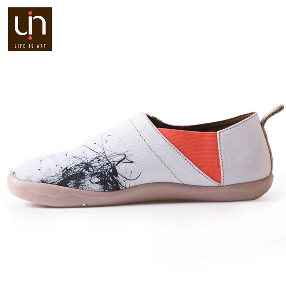 Zapatos casuales de lona pintados a mano con diseño de hombre silencioso UIN para hombres mocasines blancos pies anchos ZAPATOS DE TRABAJO cómodos ligeros zapatillas de deporte