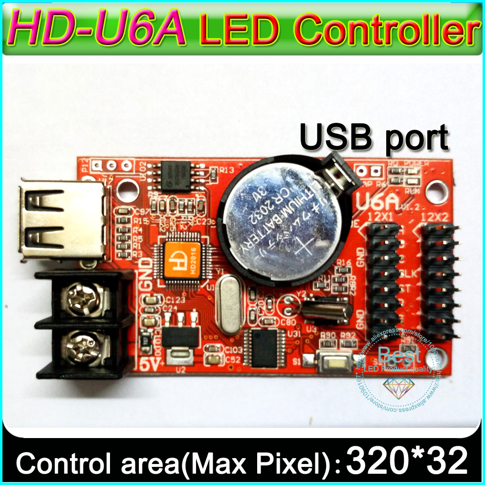 2019 Super Value HD-U6A USB Port Single&double Color LED Signs Controller, P10 Single Color LED Display Control Card,