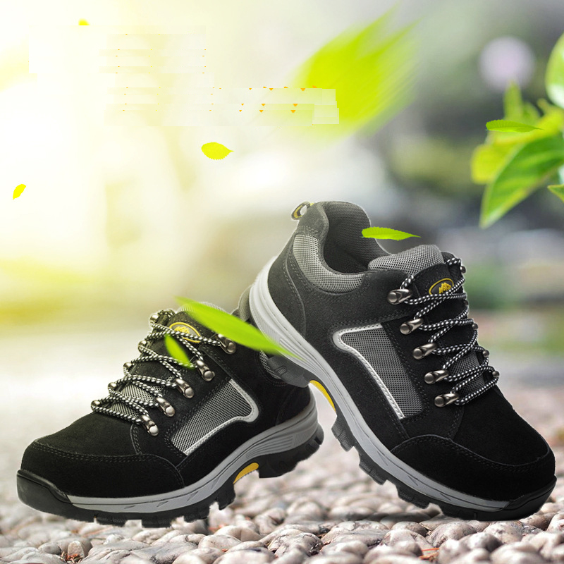 Work Safety Shoes For Men Vintage Blcak Mesh Breathable Steel Toe Cap Boots Mens Labor Insurance Puncture Proof Casual Shoe man