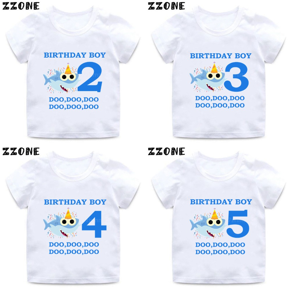 Baby Shark 1-9 Number Print Cartoon Funny T Shirt Kids Happy Birthday Present T-shirt Boys Girls Summer Clothes,HKP2441(China)