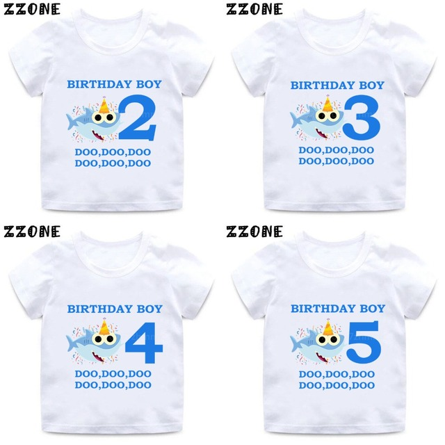 Baby Shark 1-9 Number Print Cartoon Funny T shirt Kids Happy Birthday Present T-shirt Boys Girls Summer Clothes,HKP2441