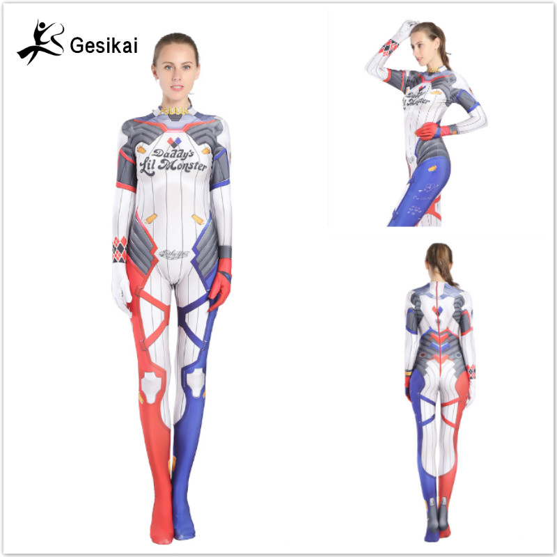 24 Hrs Shipped Out Womens Suicide Squad Cosplay Costume Zentai Suit Lycar Spandex Jumpsuit Bodysuit Suit for Halloween