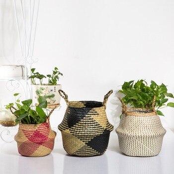 WHISM Faltbare Handgemachte Lagerung Korb Klapp Wicker Rattan Seegras Bauch Stroh Garten Blumentopf Pflanzer Wäsche Korb