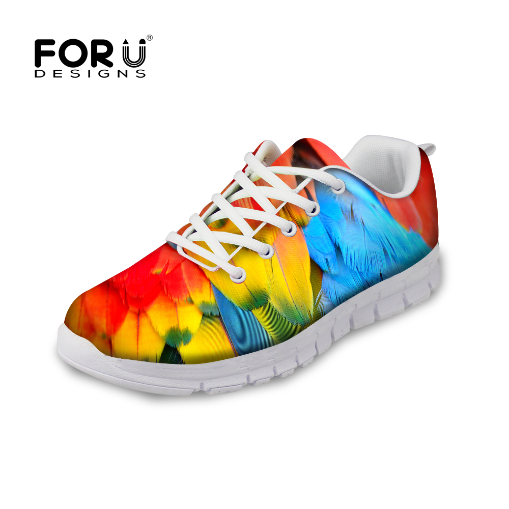 FORUDESIGNS Sneakers Women Spring Women Flats Shoes 2018 Peacock Feather Printed Women's Comfortable Lace-up Shoes Zapatos Mujer forudesigns 3d flowers pattern women casual sneakers comfortable mesh flats shoes for female girls lace up shoes zapatos mujer
