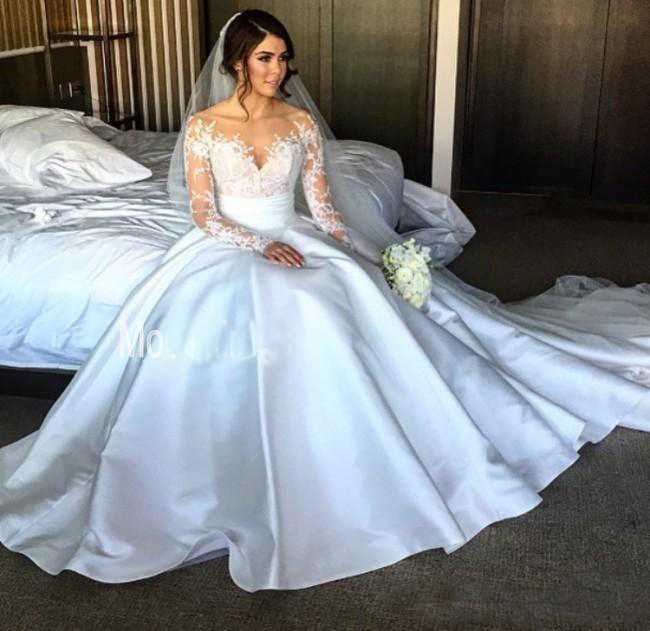 a9cfd2de222 New Split Steven Khalil Wedding Dresses With Detachable Skirt Sheer Neck  Long Sleeves Sheath Overskirts Bridal Gowns -in Wedding Dresses from  Weddings ...